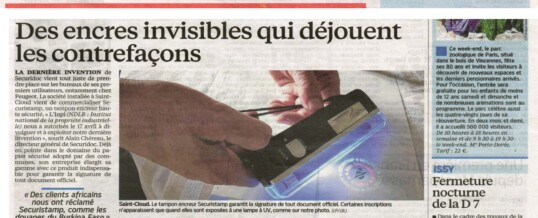 LE PARISIEN: SECURISTAMP, UN TAMPON ENCREUR HAUTE SECURITE